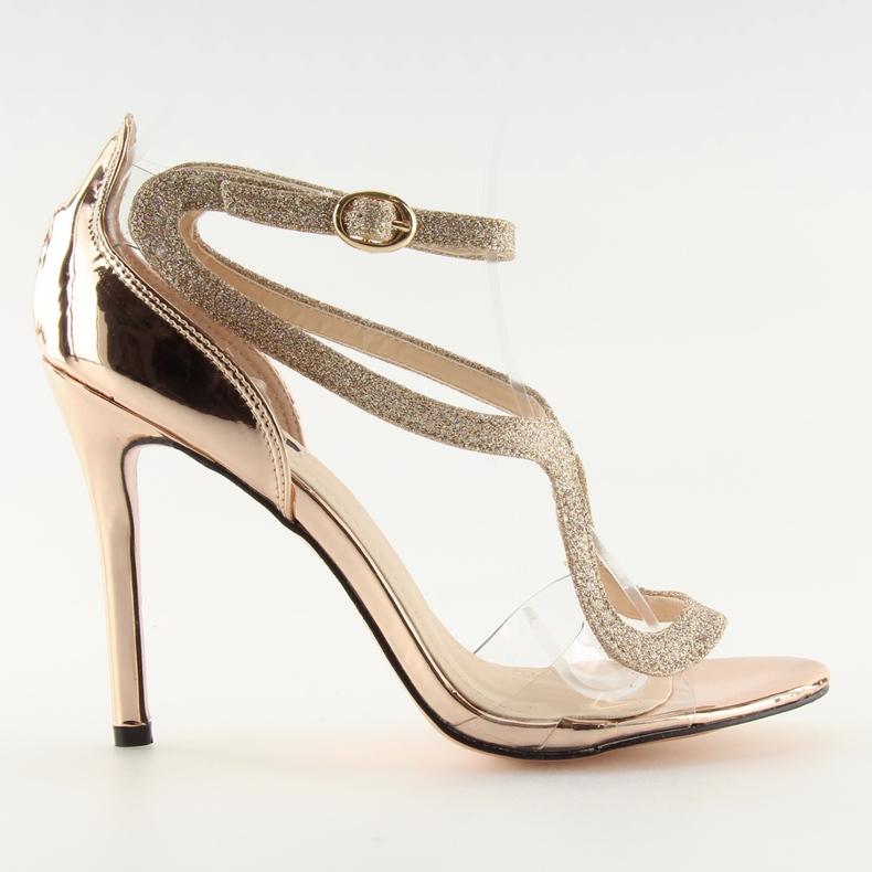 Sandałki na szpilce różowe 1443 champagne