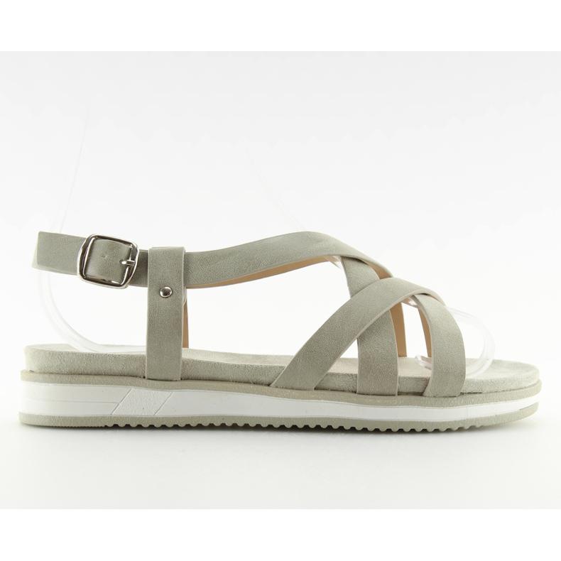 Sandałki damskie bardzo wygodne szare 1499 Grey