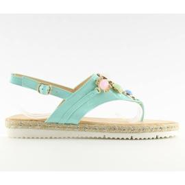 Sandałki z kamieniami miętowe 3072 mint niebieskie
