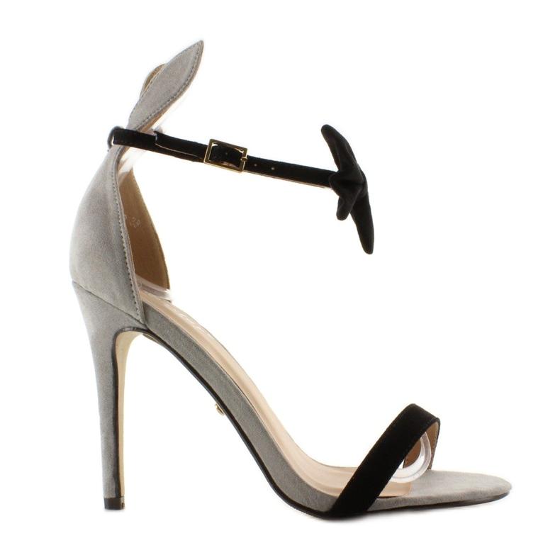 Sandałki na szpilce z uszkami ZJ-15P Grey czarne szare