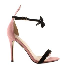 Różowe Sandałki na szpilce z uszkami ZJ-15P Pink