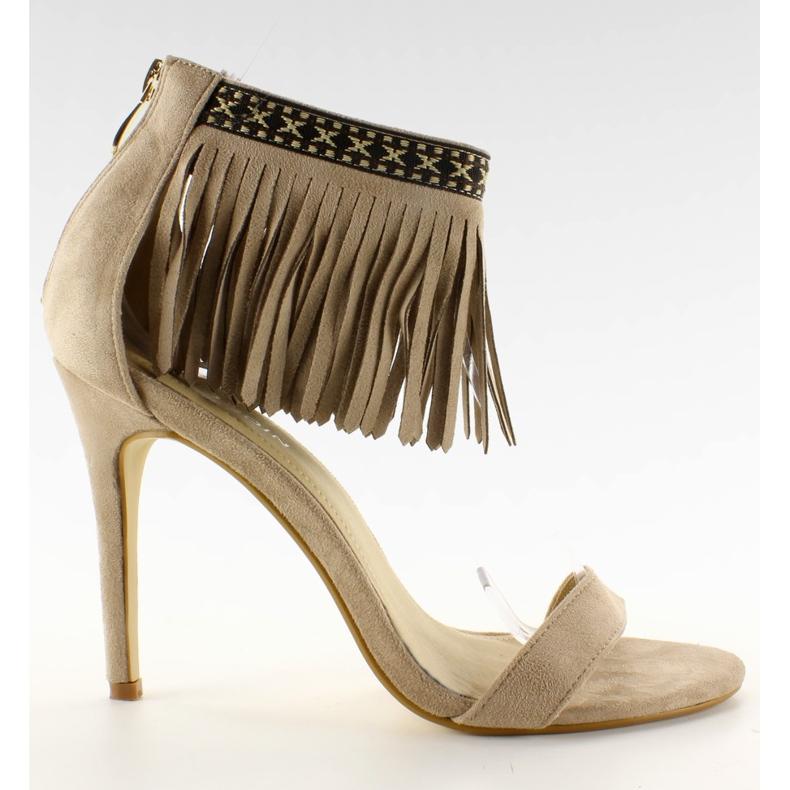 Sandałki z frędzlami etniczny wzór GD-16-5247 Beige beżowy