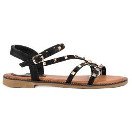 SDS Płaskie sandały z ćwiekami czarne