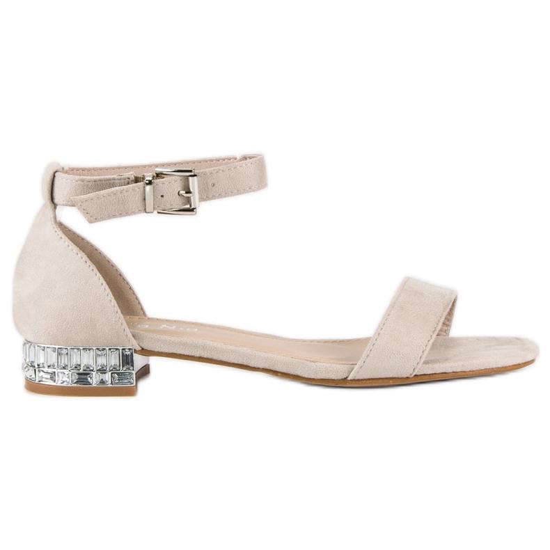 Nio Nio Eleganckie zamszowe sandały brązowe
