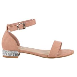 Nio Nio Eleganckie zamszowe sandały różowe