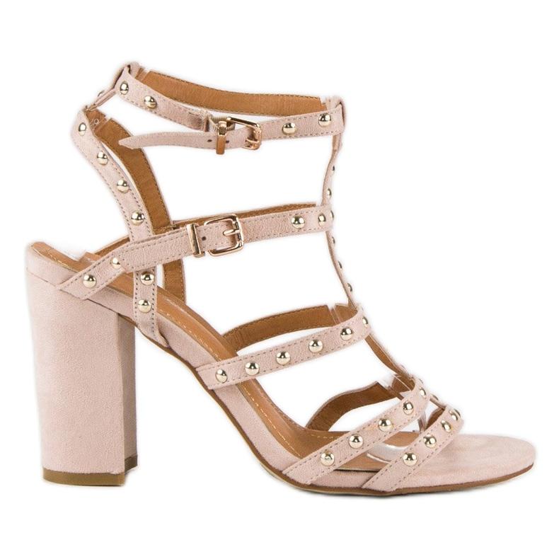 Bestelle Pudrowe sandały na słupku różowe
