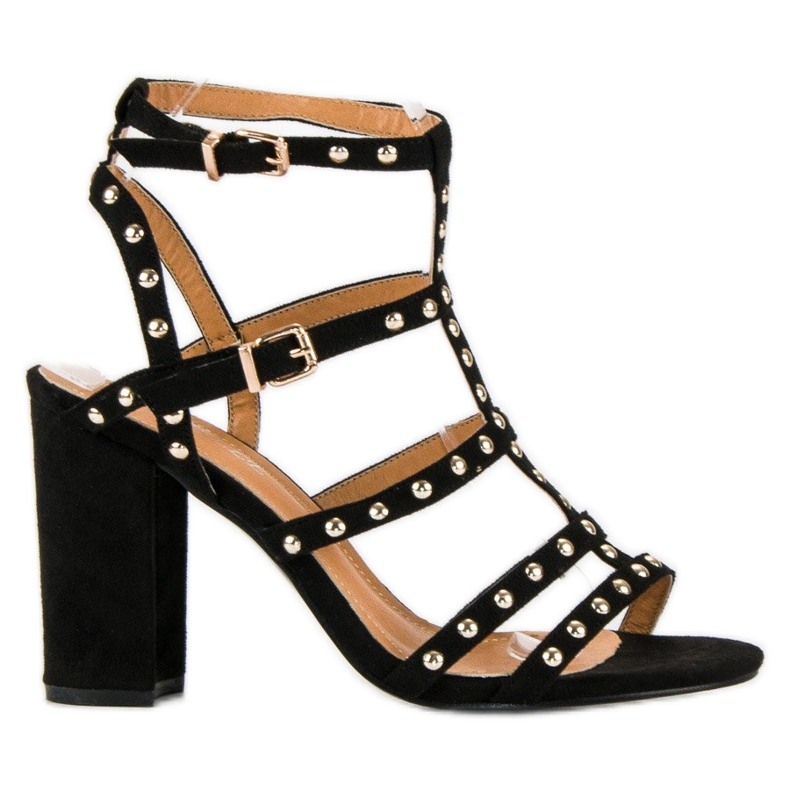 Bestelle Czarne sandały na słupku