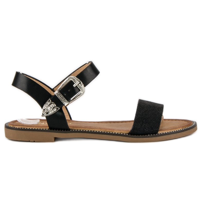Nio Nio Wygodne sandały płaskie czarne