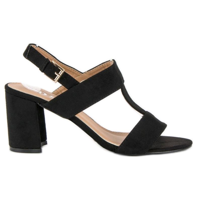 SDS Czarne sandały na słupku