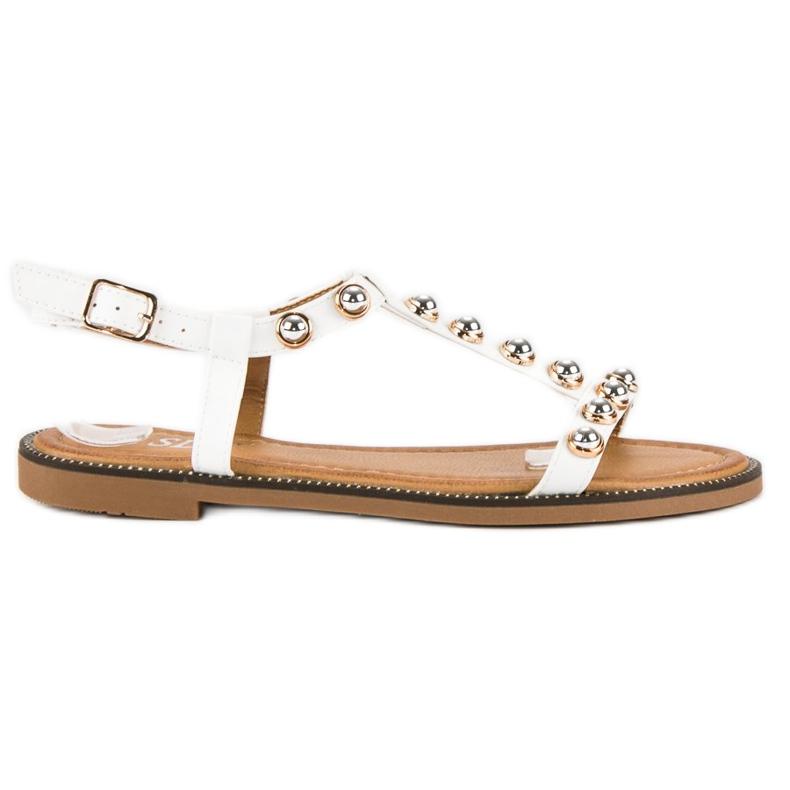 SDS Białe Sandały Na Sprzączkę