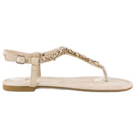 Eleganckie płaskie sandały vices brązowe