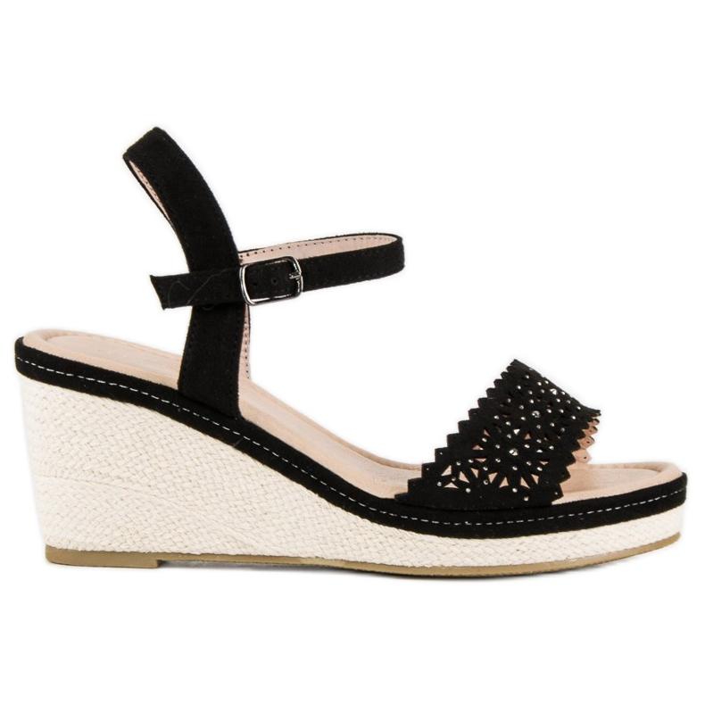 Ideal Shoes Czarne espadryle na koturnie