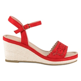 Ideal Shoes Czerwone Espadryle Na Koturnie