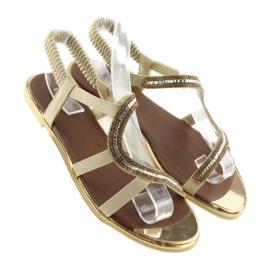 Sandałki asymetryczne beżowe 4157 Beige beżowy