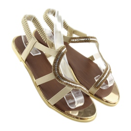 Sandałki asymetryczne beżowe 4157 Beige brązowe