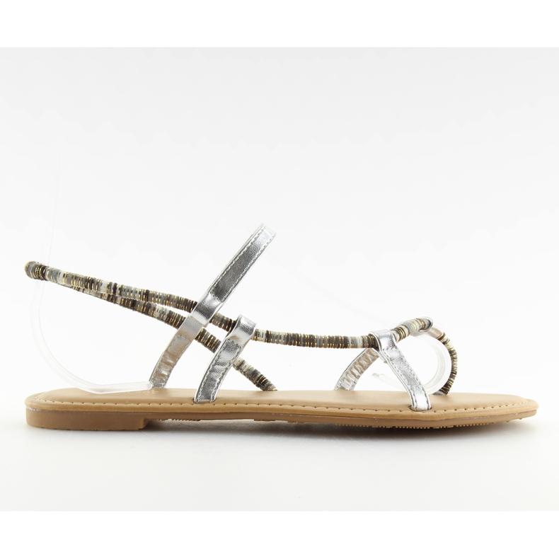 Sandałki japonki srebrne 5130 silver szare