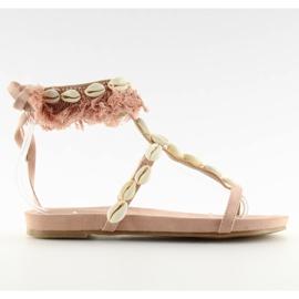 Sandałki z muszelkami różowe 8225 Pink