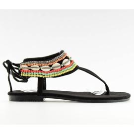 Sandałki z koralikami czarne 8241 black