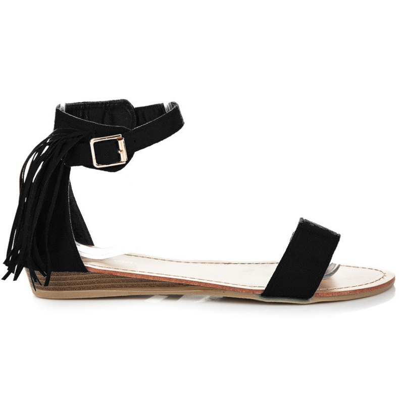 Abloom Zamszowe sandałki z frędzlami czarne
