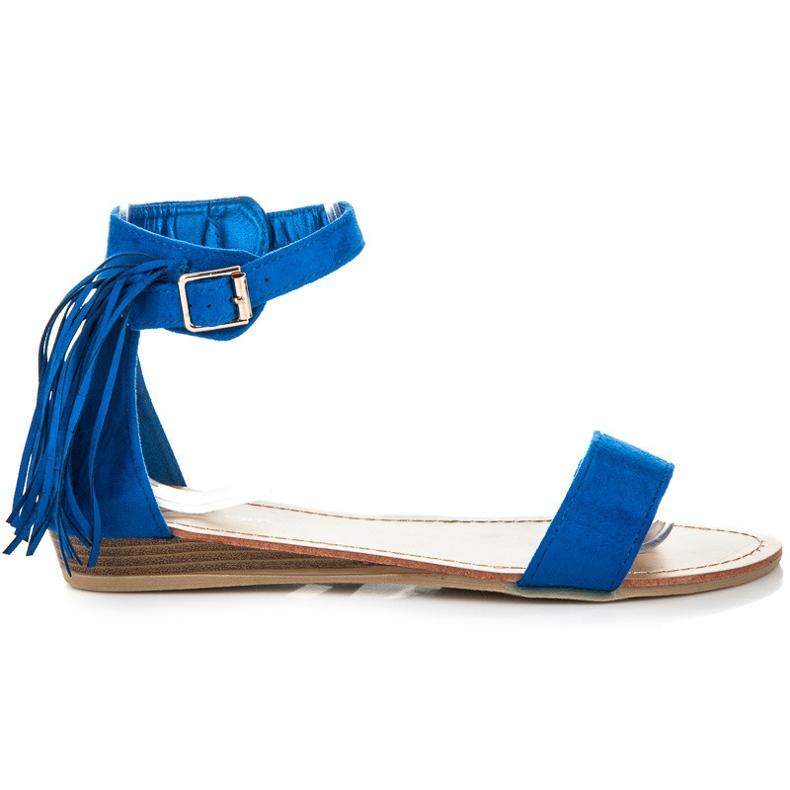 Abloom Zamszowe sandałki z frędzlami niebieskie