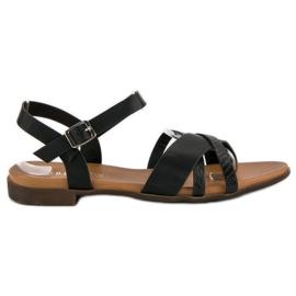 L. Day Czarne płaskie sandały