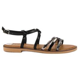 Bestelle Czarne sandały zapinane na sprzączkę