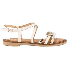 Bestelle Beżowe sandały zapinane na sprzączkę beżowy