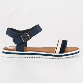 Top Shoes Marynarskie sandały damskie niebieskie