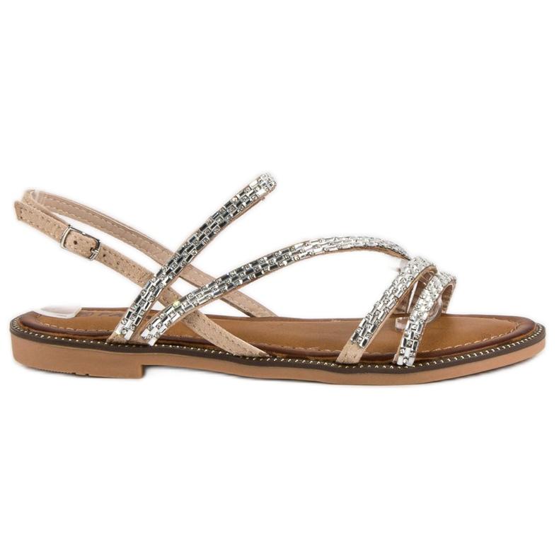 Fama Stylowe płaskie sandały brązowe