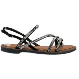 Fama Stylowe płaskie sandały czarne