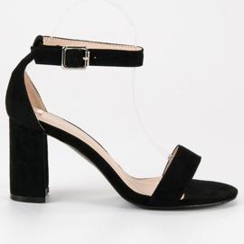 Diamantique Zamszowe sandały na słupku czarne