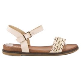 Licean Eleganckie beżowe sandały beżowy