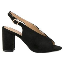 Lovery Stylowe sandały na obcasie czarne