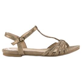 Corina Złote płaskie sandały złoty