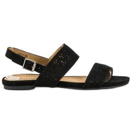 Corina Zamszowe płaskie sandałki czarne