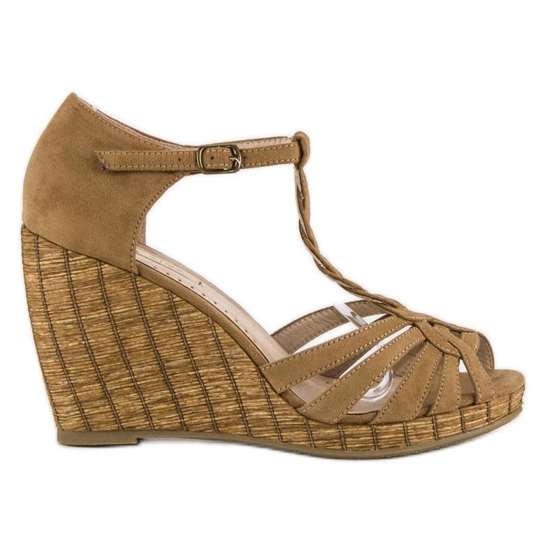 Corina Wygodne sandały na koturnie brązowe