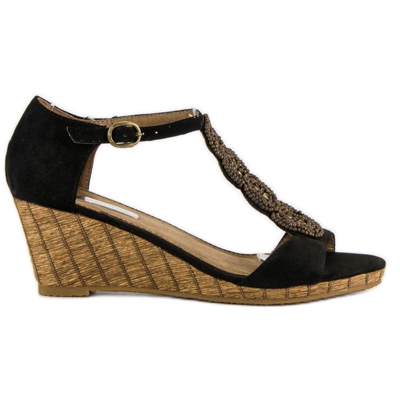 Corina Ozdobne sandały na koturnie czarne