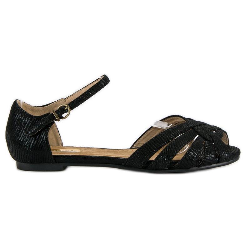 Corina Eleganckie płaskie sandały czarne