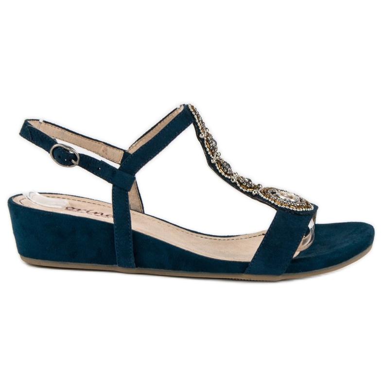 Corina Granatowe sandały na sprzączkę niebieskie