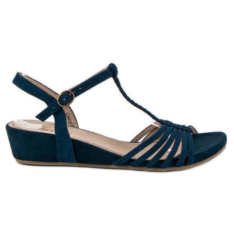 Corina Sandały Na Niskiej Koturnie niebieskie
