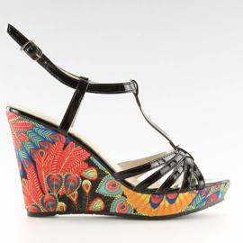 Sandałki na koturnie czarne BL201 black