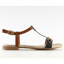 Sandałki na płaskiej podeszwie czarne 9871 Black