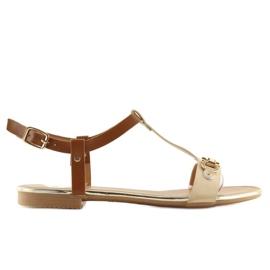 Sandałki na płaskiej podeszwie beżowe 9871 Beige beżowy