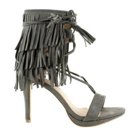 Sandałki na obcasie z frędzlami 8125 Grey szare