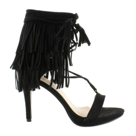 Sandałki na obcasie z frędzlami 8125 Black czarne