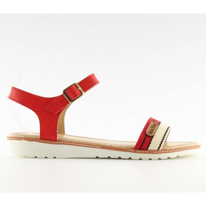 Sandałki na płaskiej podeszwie czerwone J1024-A5 Red