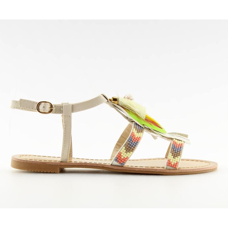 Sandałki w stylu boho beżowe LQ-2662 Beige beżowy