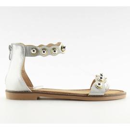 Sandałki zapinane na kostkę srebrne VS-376 Silver szare