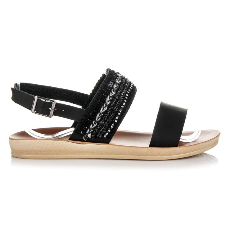 Beauty Girl'S Czarne sandałki z koralikami