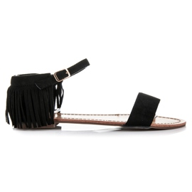 Queen Vivi Płaskie sandałki z frędzlami czarne